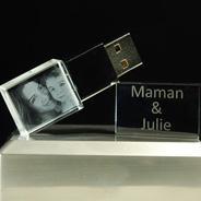 Clés USB en verre 16GB (LED blanche)