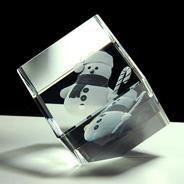 Cubes en verre 3D à pan coupé<br />(Petit format)