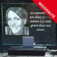 Plaque funéraire en verre 23x18 cm