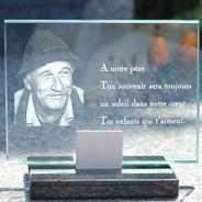 Plaque funéraire en verre 20x15 cm